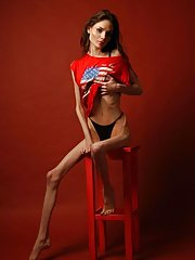 Anorexic, thin, slim and tall nude women